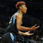 Angel McCoughtry is displeased with a referee call. Maria Noble/WomensHoopsWorld.