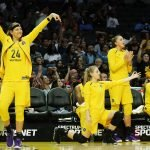 The Sparks bench celebrates a three-point shot. Maria Noble/WomensHoopsWorld.