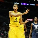 Candace Parker is displeased with a call. Maria Noble/WomensHoopsWorld.