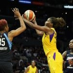 Jantel Lavender launches a shot. Maria Noble/WomensHoopsWorld.