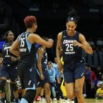 Dream players anticipate the win in the game's final minutes. Maria Noble/WomensHoopsWorld.
