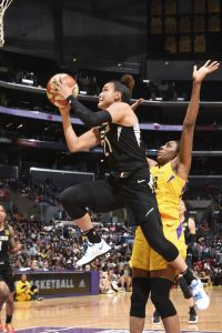 Kayla McBride takes flight. Photo by Andrew D. Bernstein/NBAE via Getty Images.