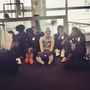 Indiana Fever players study film at the airport, in preparation for their next game. Photo courtesy of Indiana Fever.