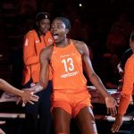 Uncasville, Connecticut/USA - July 17, 2018: Connecticut Sun forward Chiney Ogwumike (13) is introduced during a WNBA basketball game between the Atlanta Dream and the Connecticut Sun at Mohegan Sun Arena. The Atlanta Dream defeated the Connecticut Sun 86-83. Chris Poss Photo.