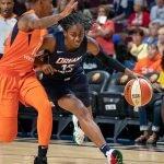 Uncasville, Connecticut/USA - July 17, 2018: Atlanta Dream guard Tiffany Hayes (15) during a WNBA basketball game between the Atlanta Dream and the Connecticut Sun at Mohegan Sun Arena. The Atlanta Dream defeated the Connecticut Sun 86-83. Chris Poss Photo.