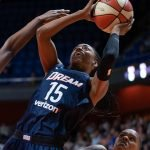 Uncasville, Connecticut/USA - July 17, 2018: Atlanta Dream guard Tiffany Hayes (15) shoots during a WNBA basketball game between the Atlanta Dream and the Connecticut Sun at Mohegan Sun Arena. The Atlanta Dream defeated the Connecticut Sun 86-83. Chris Poss Photo.