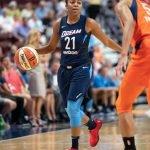 Uncasville, Connecticut/USA - July 17, 2018: Atlanta Dream guard Renee Montgomery (21) during a WNBA basketball game between the Atlanta Dream and the Connecticut Sun at Mohegan Sun Arena. The Atlanta Dream defeated the Connecticut Sun 86-83. Chris Poss Photo.