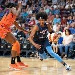 Uncasville, Connecticut/USA - July 17, 2018: Atlanta Dream guard Brittney Sykes (7) during a WNBA basketball game between the Atlanta Dream and the Connecticut Sun at Mohegan Sun Arena. The Atlanta Dream defeated the Connecticut Sun 86-83. Chris Poss Photo.