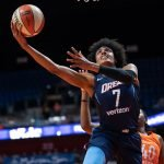 Uncasville, Connecticut/USA - July 17, 2018: Atlanta Dream guard Brittney Sykes (7) shoots during a WNBA basketball game between the Atlanta Dream and the Connecticut Sun at Mohegan Sun Arena. The Atlanta Dream defeated the Connecticut Sun 86-83. Chris Poss Photo.