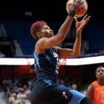Uncasville, Connecticut/USA - July 17, 2018: Atlanta Dream forward Angel McCoughtry (35) shoots during a WNBA basketball game between the Atlanta Dream and the Connecticut Sun at Mohegan Sun Arena. The Atlanta Dream defeated the Connecticut Sun 86-83. Chris Poss Photo.