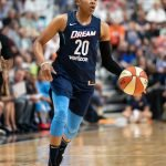 Uncasville, Connecticut/USA - July 17, 2018: Atlanta Dream guard Alex Bentley (20) during a WNBA basketball game between the Atlanta Dream and the Connecticut Sun at Mohegan Sun Arena. The Atlanta Dream defeated the Connecticut Sun 86-83. Chris Poss Photo.