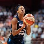 Uncasville, Connecticut/USA - July 17, 2018: Atlanta Dream forward Monique Billings (25) at the free throw line during a WNBA basketball game between the Atlanta Dream and the Connecticut Sun at Mohegan Sun Arena. The Atlanta Dream defeated the Connecticut Sun 86-83. Chris Poss Photo.