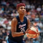 Uncasville, Connecticut/USA - July 17, 2018: Atlanta Dream forward Angel McCoughtry (35) shooting a free throw during a WNBA basketball game between the Atlanta Dream and the Connecticut Sun at Mohegan Sun Arena. The Atlanta Dream defeated the Connecticut Sun 86-83. Chris Poss Photo.