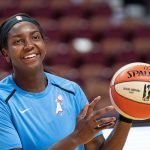 Uncasville, Connecticut/USA - July 17, 2018: Atlanta Dream center Elizabeth Williams warms up before a WNBA basketball game between the Atlanta Dream and the Connecticut Sun at Mohegan Sun Arena. The Atlanta Dream defeated the Connecticut Sun 86-83. Chris Poss Photo.