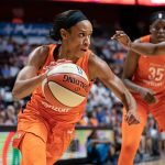 Uncasville, Connecticut/USA - July 17, 2018: Connecticut Sun guard Jasmine Thomas (5) during a WNBA basketball game between the Atlanta Dream and the Connecticut Sun at Mohegan Sun Arena. The Atlanta Dream defeated the Connecticut Sun 86-83. Chris Poss Photo.