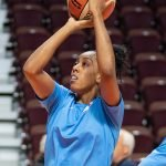 Uncasville, Connecticut/USA - July 17, 2018: Atlanta Dream forward Monique Billings warms up before a WNBA basketball game between the Atlanta Dream and the Connecticut Sun at Mohegan Sun Arena. The Atlanta Dream defeated the Connecticut Sun 86-83. Chris Poss Photo.