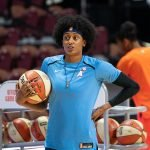 Uncasville, Connecticut/USA - July 17, 2018: Atlanta Dream guard Brittney Sykes warms up before a WNBA basketball game between the Atlanta Dream and the Connecticut Sun at Mohegan Sun Arena. The Atlanta Dream defeated the Connecticut Sun 86-83. Chris Poss Photo.