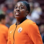 Uncasville, Connecticut/USA - July 17, 2018: Connecticut Sun forward Chiney Ogwumike before a WNBA basketball game between the Atlanta Dream and the Connecticut Sun at Mohegan Sun Arena. The Atlanta Dream defeated the Connecticut Sun 86-83. Chris Poss Photo.