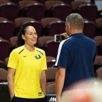 UNCASVILLE, CONNECTICUT/USA - July 20, 2018: Seattle Storm guard Sue Bird (10) is interviewed before a Seattle Storm vs Connecticut Sun WNBA basketball game at Mohegan Sun Arena. Chris Poss Photo.
