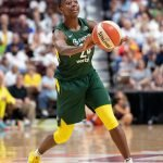 UNCASVILLE, CONNECTICUT/USA - July 20, 2018: Seattle Storm guard Jewell Loyd (24) during a Seattle Storm vs Connecticut Sun WNBA basketball game at Mohegan Sun Arena. Chris Poss Photo.