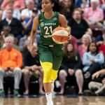 UNCASVILLE, CONNECTICUT/USA - July 20, 2018: Seattle Storm guard Jordin Canada (21) during a Seattle Storm vs Connecticut Sun WNBA basketball game at Mohegan Sun Arena. Chris Poss Photo.