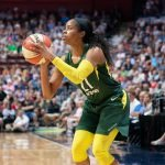 UNCASVILLE, CONNECTICUT/USA - July 20, 2018: Seattle Storm guard Jordin Canada (21) about to shoot during a Seattle Storm vs Connecticut Sun WNBA basketball game at Mohegan Sun Arena. Chris Poss Photo.