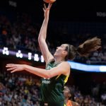 UNCASVILLE, CONNECTICUT/USA - July 20, 2018: Seattle Storm forward Breanna Stewart (30) shoots during a Seattle Storm vs Connecticut Sun WNBA basketball game at Mohegan Sun Arena. Chris Poss Photo.