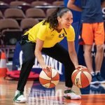 UNCASVILLE, CONNECTICUT/USA - July 20, 2018: Seattle Storm guard Sue Bird warms up before a Seattle Storm vs Connecticut Sun WNBA basketball game at Mohegan Sun Arena. Chris Poss Photo.