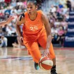 UNCASVILLE, CONNECTICUT/USA - July 20, 2018: Connecticut Sun forward Alyssa Thomas (25) during a Seattle Storm vs Connecticut Sun WNBA basketball game at Mohegan Sun Arena. Chris Poss Photo.