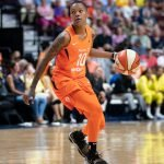 UNCASVILLE, CONNECTICUT/USA - July 20, 2018: Connecticut Sun guard Jasmine Thomas (5) during a Seattle Storm vs Connecticut Sun WNBA basketball game at Mohegan Sun Arena. Chris Poss Photo.