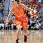 UNCASVILLE, CONNECTICUT/USA - July 20, 2018: Connecticut Sun guard Rachel Banham (1) during a Seattle Storm vs Connecticut Sun WNBA basketball game at Mohegan Sun Arena. Chris Poss Photo.
