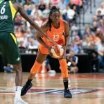 UNCASVILLE, CONNECTICUT/USA - July 20, 2018: Connecticut Sun forward Chiney Ogwumike (13) during a Seattle Storm vs Connecticut Sun WNBA basketball game at Mohegan Sun Arena. Chris Poss Photo.