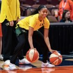 UNCASVILLE, CONNECTICUT/USA - July 20, 2018: Seattle Storm guard Jordin Canada warms up before a Seattle Storm vs Connecticut Sun WNBA basketball game at Mohegan Sun Arena. Chris Poss Photo.