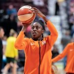 UNCASVILLE, CONNECTICUT/USA - July 20, 2018: Connecticut Sun forward Chiney Ogwumike warms up before a Seattle Storm vs Connecticut Sun WNBA basketball game at Mohegan Sun Arena. Chris Poss Photo.