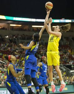 Breanna Stewart elevates for two of her 35 points on the night. Neil Enns/Storm Photos.