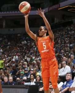 Jasmine Thomas launches a shot for two of her 11 points on the night. Photo courtesy of Connecticut Sun.