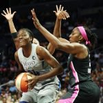 Temi Fagbenle is defended by Nneka Ogwumike. Maria Noble/WomensHoopsWorld.