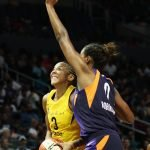 Candace Parker is guarded by Angel Robinson. Maria Noble/WomensHoopsWorld.