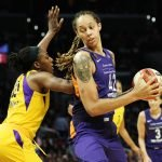 Brittney Griner eyes the defense. Maria Noble/WomensHoopsWorld.