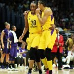 Nneka Ogwumike and Candace Parker confer. Maria Noble/WomensHoopsWorld.