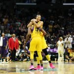 Candace Parker is happy that Chelsea Gray scored. Maria Noble/WomensHoopsWorld.