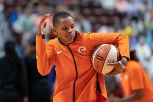 Courtney Williams dances during pre-game warmups. Chris Poss photo.