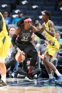 Sylvia Fowles, left and Natasha Howard were the high scorers for their respective teams with 28 and 21 points, respectively. Seattle Storm photo.