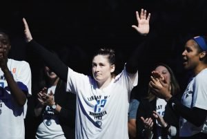 Lindsay Whalen acknowledges more than 13,000 fans in attendance after her retirement ceremony. Photo courtesy of Minnesota Lynx.