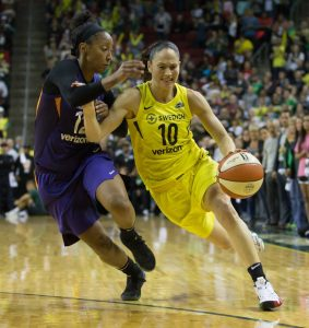 Sue Bird drives in the semifinals. Neil Enns/Storm Photos.