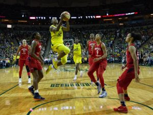 Jewell Loyd beats the entire Mystics defense to score. Neil Enns/Storm Photos.
