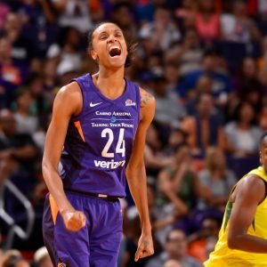DeWanna Bonner yells with joy after making a basket. She had 27 points on the night. NBAE via Getty Images photo.