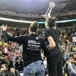 Sue Bird and Breanna Stewart greet the crowd. Neil Enns/Storm Photos.