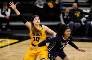 Megan Gustafson posts up under the basket. Photo by Brian Ray/hawkeyesports.com.