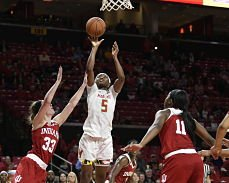 Kaila Charles puts up a shot. Photo courtesy of Maryland Athletics.